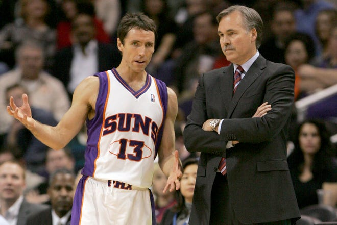 In this Feb. 6, 2008, file photo, Phoenix Suns guard Steve Nash talks with head coach Mike D'Antoni. (AP Photo/Matt York, File)