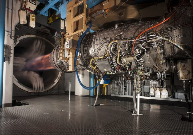 A Pratt & Whitney F135 engine, used to power the F-35 Lightning II fighter aircraft, undergoes testing at Arnold Air Force Base in Tullahoma, Tenn. Pratt & Whitney will invest at least $650 million in a new engine parts plant in Asheville.