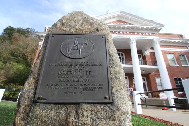 A marker honoring Confederate General Robert E. Lee and marking the Dixie Highway disappeared from outside the Madison County Courthouse in early November.