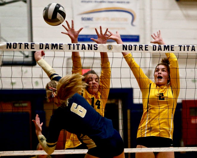 Paint Valley's Mandi Bolles (left) and Olivia Smith (right) attempt to block a hit from Notre Dame's Ava Hassel on Thursday at Notre Dame High School. The Bearcats fell to the Titans in a Division IV district semifinal.