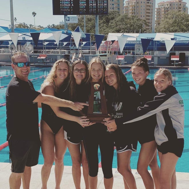 The Fort Myers girls swimming team, coached by Tom Keer, won the Class 3A-Region 3 meet at North Shore Aquatics Center in St. Petersburg on Friday.