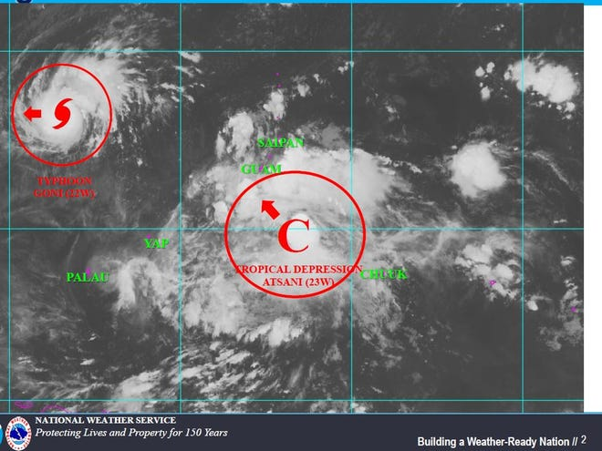 Tropical Depression Atsani is expected to intensify and bring wind to Guam Friday night.