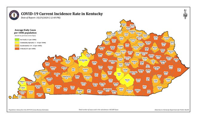 The COVID-19 Current Incidence Rate Map of Kentucky for Thursday, Oct. 29