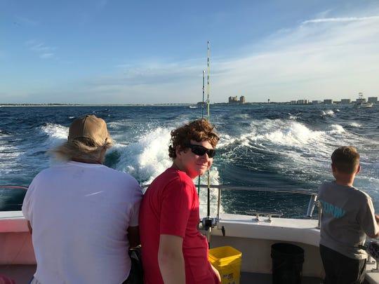 Brandon Blackburn goes deep sea fishing with his adoptive family.