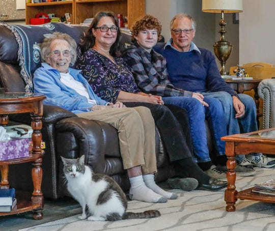 Members of the Blackburn family, left to right, Joyce, Luanne, Brandon, and Michael Blackburn are photographed at their Indiana home, Thursday, Oct. 9, 2020.