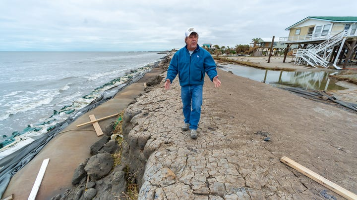 Mayor David Camardelle discussing issues with repairing the levee after Hurricane Zeta causes damage to Grand Isle, LA. Friday, Oct. 30, 2020.
