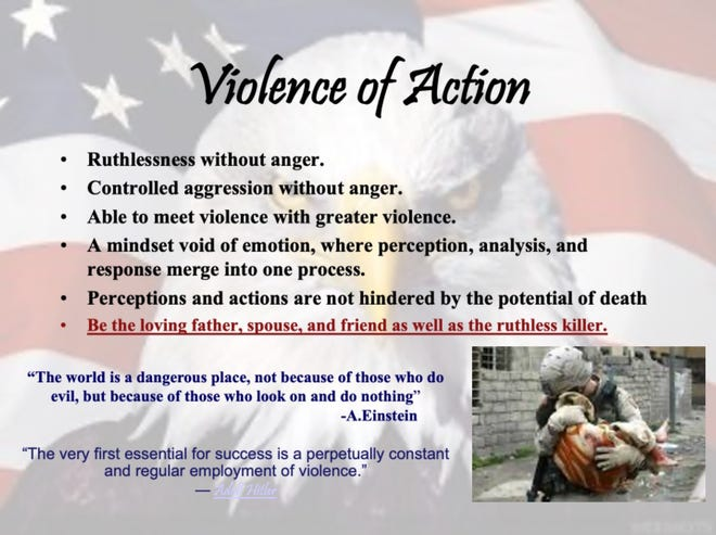 "A slide from a Kentucky State Police training presentation quoting Adolf Hitler and advocating ""ruthlessness without anger."""