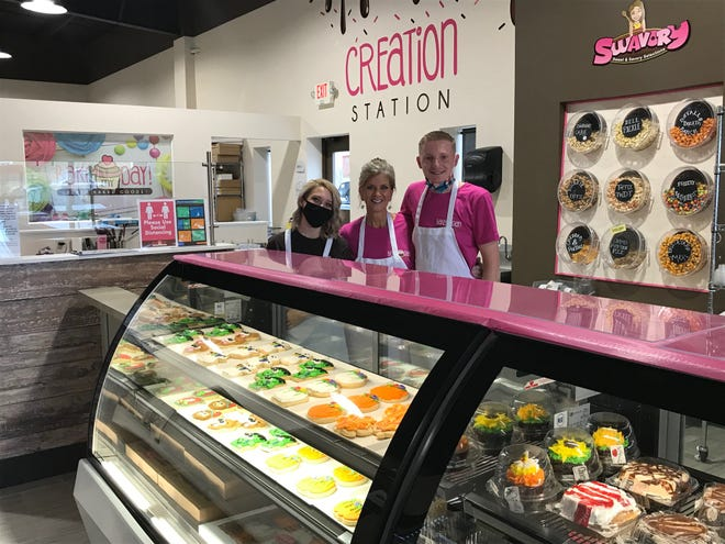 Bake My Day reopened at a new location at 2153 Stumbo Road in Ontario. The shop offers cakes, cookies, cupcakes, a coffee bar and ice cream. From left are Brooklyn Bright, Diana Hochstetler and Austin Butler. The shop is open 9 a.m. to 7 p.m. daily Tuesday through Saturday.