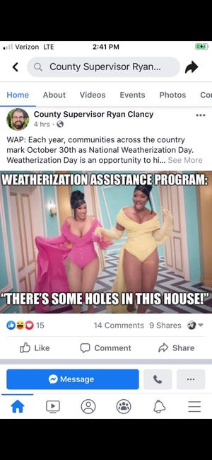 "Milwaukee County Supervisor Ryan Clancy linked the county Weatherization Assistance Program to rapper Cardi B's ""WAP"" song."