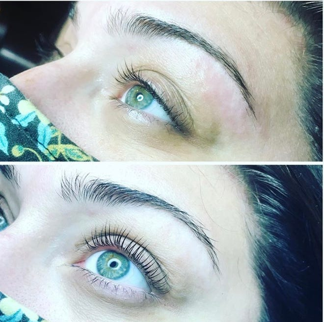 Lash lifts are popular at The Parlor Salon and Spa in Germantown. The top photo is before the lash lift is done and the bottom is after.
