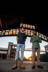 Founders Devoski Boyd and Jonathan Robinson model apparel from their brand Black Creek Outdoors in Montgomery, Ala., on Thursday, Oct. 29, 2020.