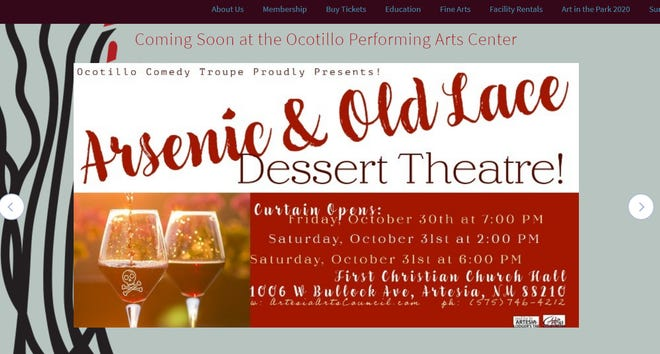 An online post for Arsenic and Old Lace. The play will be performed three times by the Ocotillo Comedy Troupe and takes place Oct. 30 and 31 in Artesia, NM.