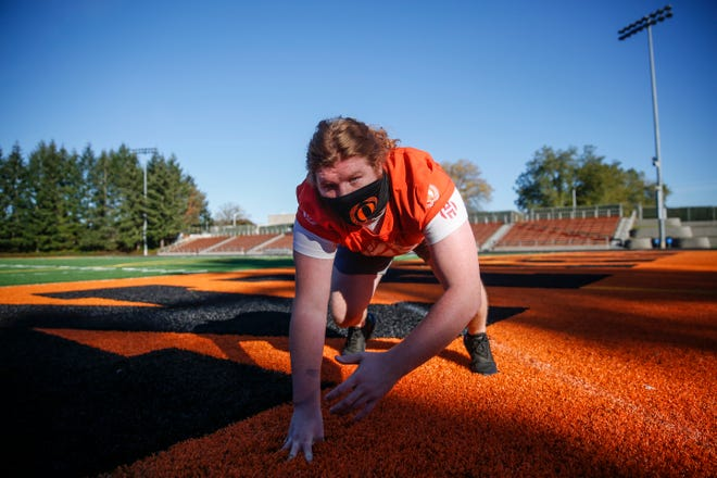 Sprague lineman Bryson Kievit poses for a portrait on Wednesday, Oct. 28, 2020 at Sprague High School.