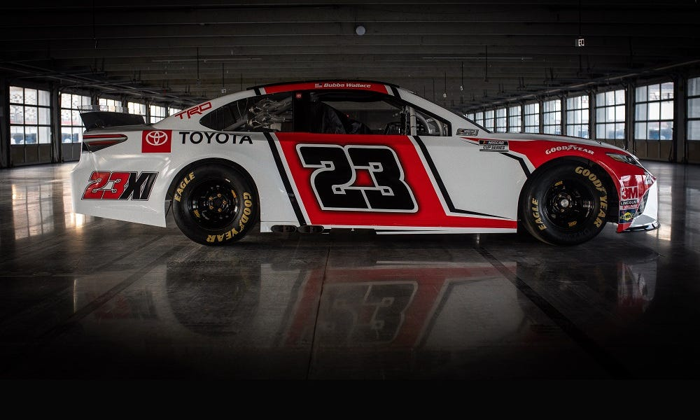 Toyota unveils the No. 23 car Bubba Wallace will drive for Michael Jordan, Denny Hamlin