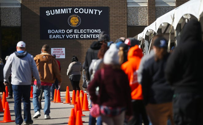 Hundreds of citizens wrap around the outside the Early Voting Center at the Summit County Board of Elections, Saturday, Oct. 31, 2020, in Akron, Ohio. [Jeff Lange/Beacon Journal]