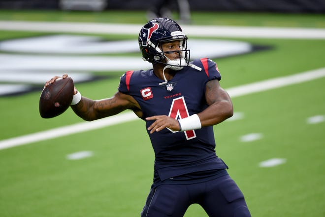 Houston Texans quarterback Deshaun Watson warms up before the start of an NFL game against the Green Bay Packers on Oct. 25 in Houston. (AP Photo/Eric Christian Smith)