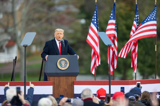 "President Donald Trump came to Upper Makefield in Bucks County on Saturday to start a day of campaigning through Pennsylvania. He  delivers a speech at Headquarters Farm in Upper Makefield on Saturday. He told supporters, ""This is the state that will save the American dream."""