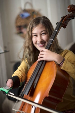 Lucy Houk, 13, an eighth-grader at Highland Middle School in the Blackhawk School District, aspires to be a professional cellist.