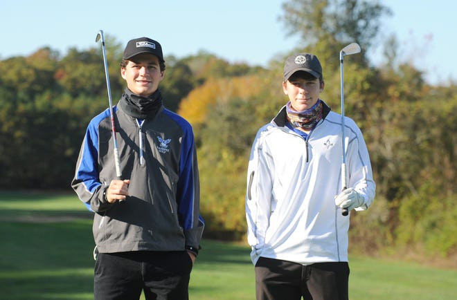 Colin Spencer, left, and his brother Jack proved essential to the Falcons making the Division 3 state tournament as a team in both 2017 and 2019, tying for third overall last year. [Merrily Cassidy/Cape Cod Times]