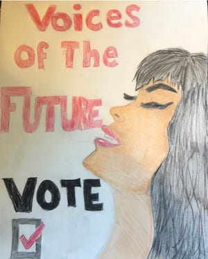 Emily Reyenger, a senior at Falmouth High School, won first place in the Most Liked & Shared Image category in the League of Women Voters of Falmouth's Voter Art Competition. [Images courtesy of Sarah Pring]