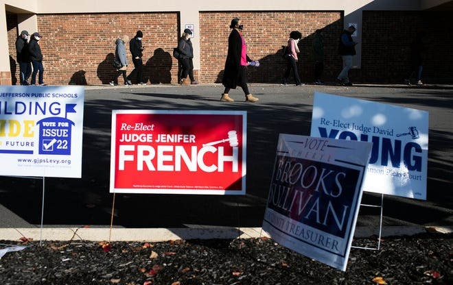 Voters brave the cold outside of the Franklin County Board of Elections on Saturday. The line of voters wrapped around the building, through the parking lot behind the complex and onto Karl Road. The wait to vote lasted more than two hours for some.