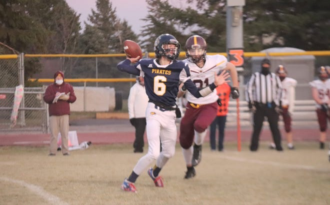 Gunnar Gunderson throws a pass during Crookston's 30-6 loss to Pillager on Friday night. Gunderson scored on a 24-yard run — the Pirates' first offensive touchdown since Oct. 3 — in the fourth quarter.