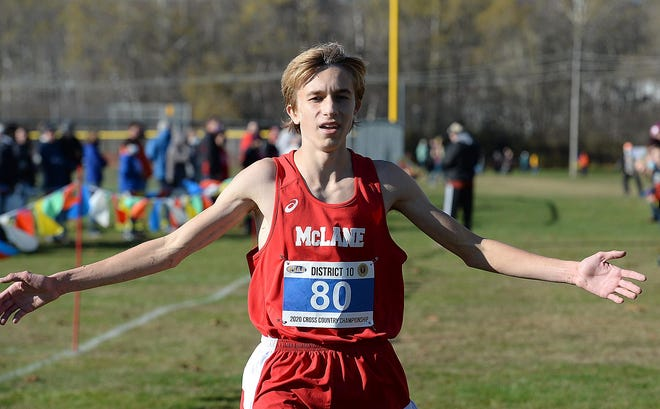 General McLane's Dylan Throop wins the District 10 Class 2A boys cross country championship Oct. 31, 2020 at Titusville's Ed Myer Recreation Complex.