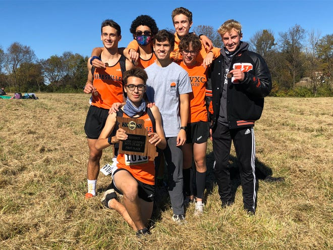 The Kirksville boys cross country team poses with its Class 4 District 4 championship on Saturday. Pictured left to right: Patrick Ranson, Jacob Spray, Kevin Crooks, Jack Marlin, Evan AuBuchon, Samuel Amerman and Dominic Cahalan.