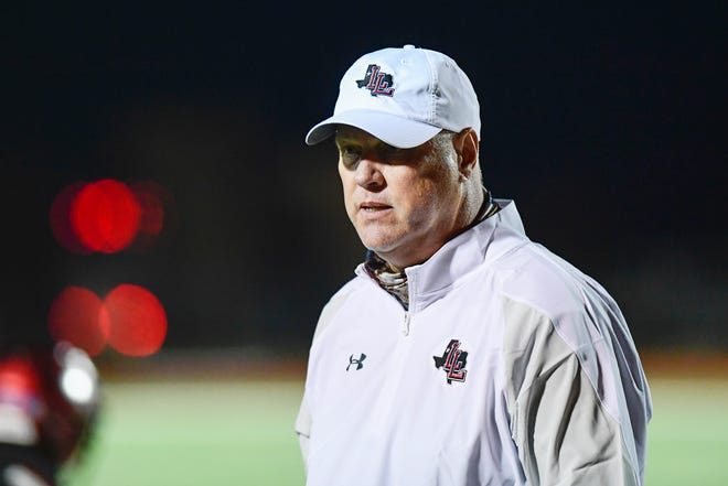 Levelland head coach Andy Correll on the sidelines during a District 3-4A Division II game Oct. 30, 2020, against Estacado at Lobo Stadium in Levelland. Correll is stepping down after two seasons with the Lobos.