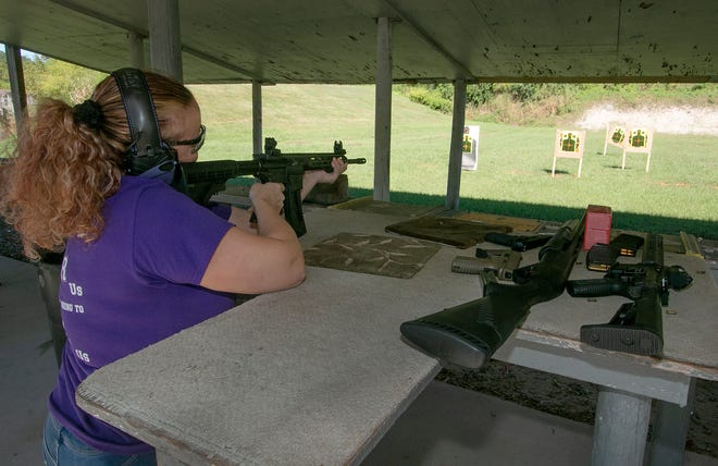 Lisa Jarrie of Winter Haven fires a .22 caliber tactical rifle as she practices shooting at the Saddle Creek Gun Range on Friday morning. The range is open to the public from 9 a.m. to 5 p.m. Wednesday, Friday and Saturday.