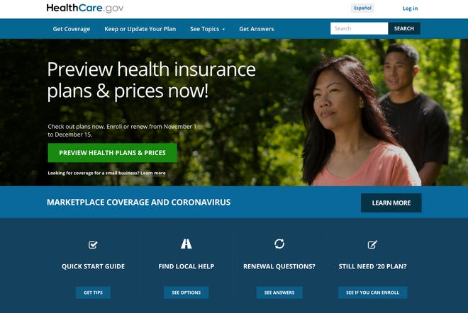This image provided by U.S. Centers for Medicare & Medicaid Service shows the website for HealthCare.gov. Millions of Americans who have lost health insurance in an economy shaken by the coronavirus can sign up for taxpayer-subsidized coverage starting Sunday.