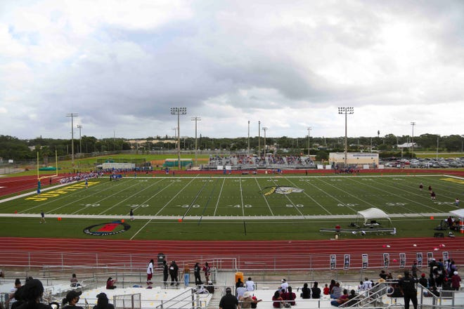 The Jupiter Community High School turf football field is seen during an Oct. 31 game between Palm Beach Lakes and Palm Beach Gardens. Both teams are ranked in the top 16 in their classifications in the inaugural tri-county rankings.