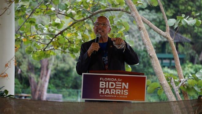 U.S. Rep. Ted Deutch of Boca Raton speaks ahead of Kamala Harris at Joe Biden rally in Fort Lauderdale, Fla on oct. 31, 2020.