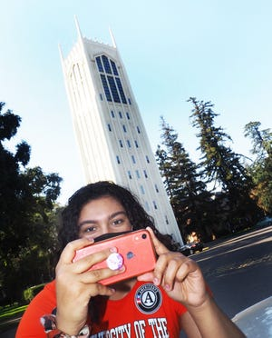 University of Pacific student Cassia Arias, 21, a fellow with the California Civic Action Program producing videos promoting healthy lifestyles.