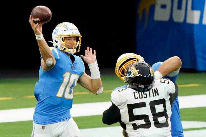 Los Angeles Chargers quarterback Justin Herbert is tied for the NFL lead in touchdown passes over 20 yards with six. Half of them came last week against Jacksonville in Herbert'sfirst career win.