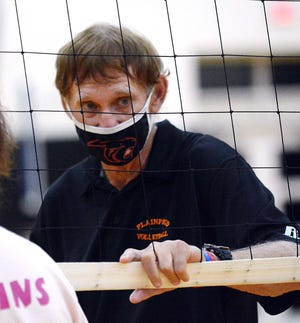 Plainfield volleyball coach Bob Arremony after his teams 3-0 win over Ellis Tech last week  in Plainfield.