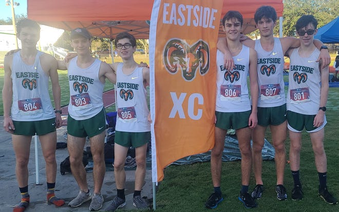 Eastside boys cross country team from left:  Greer Mathias, Aidan Grosz, August McDaniel, Emerson Miller, Jackson Petty and DecLan ODwyer.