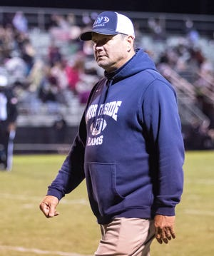 Northside Rams Head Coach Chris Hilliker heads into the locker room at halftime as the Northside Rams took on the Sipsey Valley Bears on Oct. 30 in their final matchup of the regular season. [Photo/Hannah Saad]