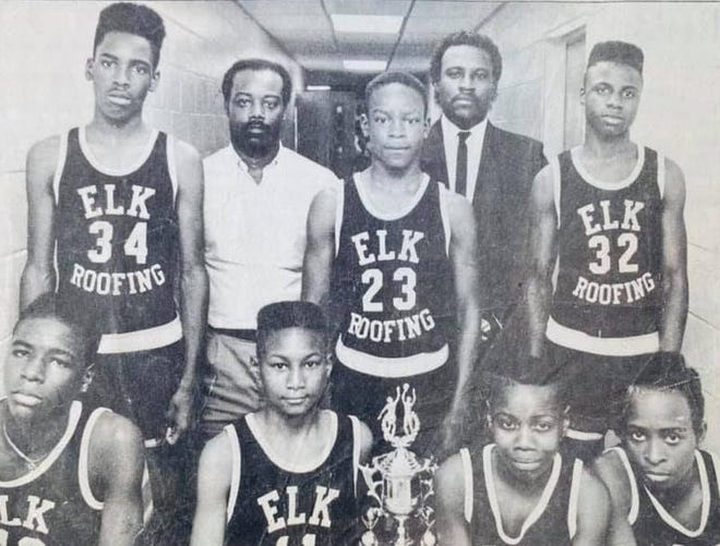 Members of the 1987 Tuscaloosa Benjamin Barnes Branch YMCA team that won the 13-and-under state championship and ended the season 19-0. Front row, from left, Darrell Jenkins, Tory Foster, Lorenzo Wardlow and Demetrick Watkins. Back row: Keith Coleman, coach Jerome Harris, Lamond Johnson, coach Johnny Jenkins and Frederick Lee. Not pictured: Kendrick Watkins.