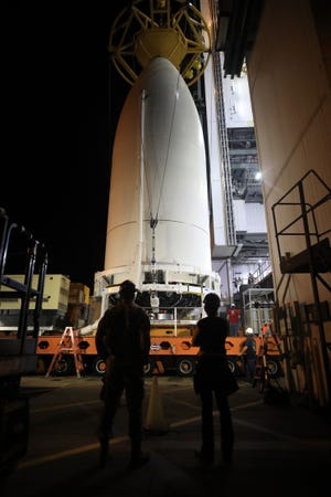 The National Reconnaissance Office's NROL-101 satellite is mated to the top of a United Launch Alliance Atlas V rocket on Monday, Oct. 26, 2020.