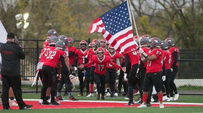 Members of the Vineland High School football team are introduced prior to the football game between Vineland and Mainland played at Gittone Stadium in Vineland on Friday, October 30, 2020.
