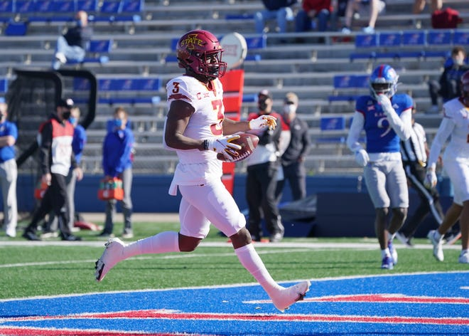 Oct 31, 2020; Lawrence, Kansas, USA; Iowa State Cyclones running back Kene Nwangwu (3) runs in for a touchdown during the first half against the Kansas Jayhawks at David Booth Kansas Memorial Stadium.