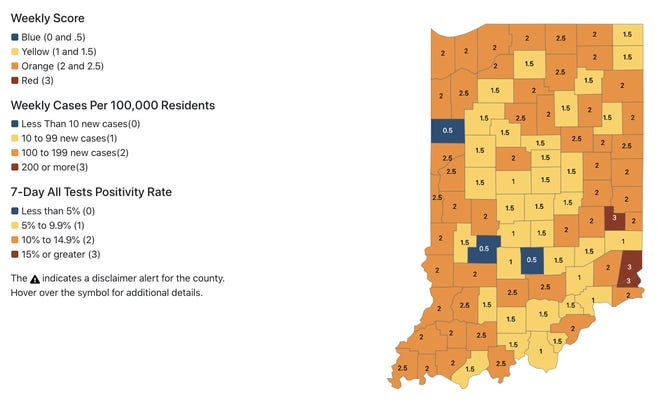 The ISDH map of COVID-19 case distribution across the state, last updated Wednesday, Oct. 28.
