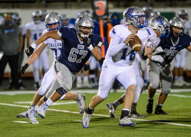 Great Falls High's Ethan DeRoche chases after Billings Skyview quarterback Dylan Goodell last season. DeRoche was chosen as a defensive lineman on the 2021 Montana East-West Shrine Game roster.