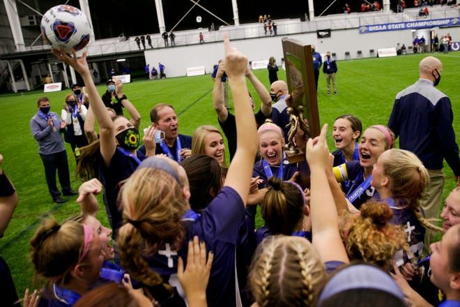 Central Catholic celebrates after defeating Park Tudor in penalty kicks to win the IHSAA class a girls state championship, Friday, Oct. 30, 2020 at Grand Park Sports Campus in Westfield.