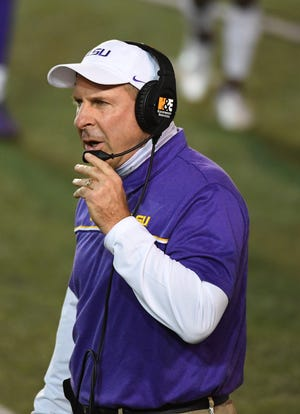 Oct 3, 2020; Nashville, Tennessee, USA; LSU Tigers defensive coordinator Bo Pelini on the sidelines during the first half against the Vanderbilt Commodores at Vanderbilt Stadium. Mandatory Credit: Christopher Hanewinckel-USA TODAY Sports