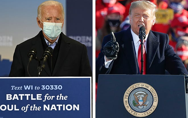 Former Vice President Joe Biden, left, campaigns in Milwaukee the same day President Donald Trump campaigns in Green Bay.
