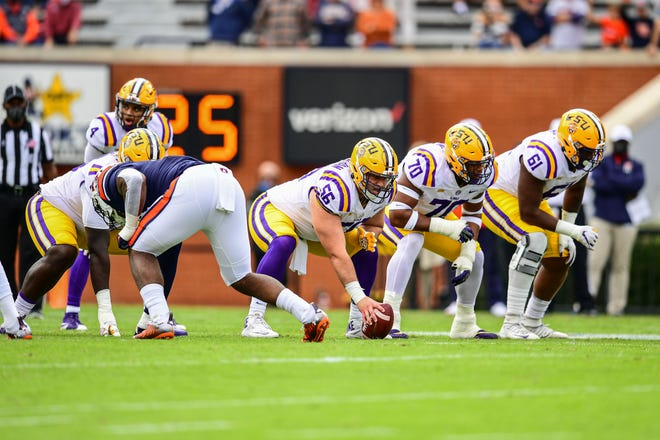 Liam Shanahan of the LSU Tigers during the first half of a game against the Auburn Tigers at Jordan-Hare Stadium on October 31, 2020 in Auburn, Alabama.