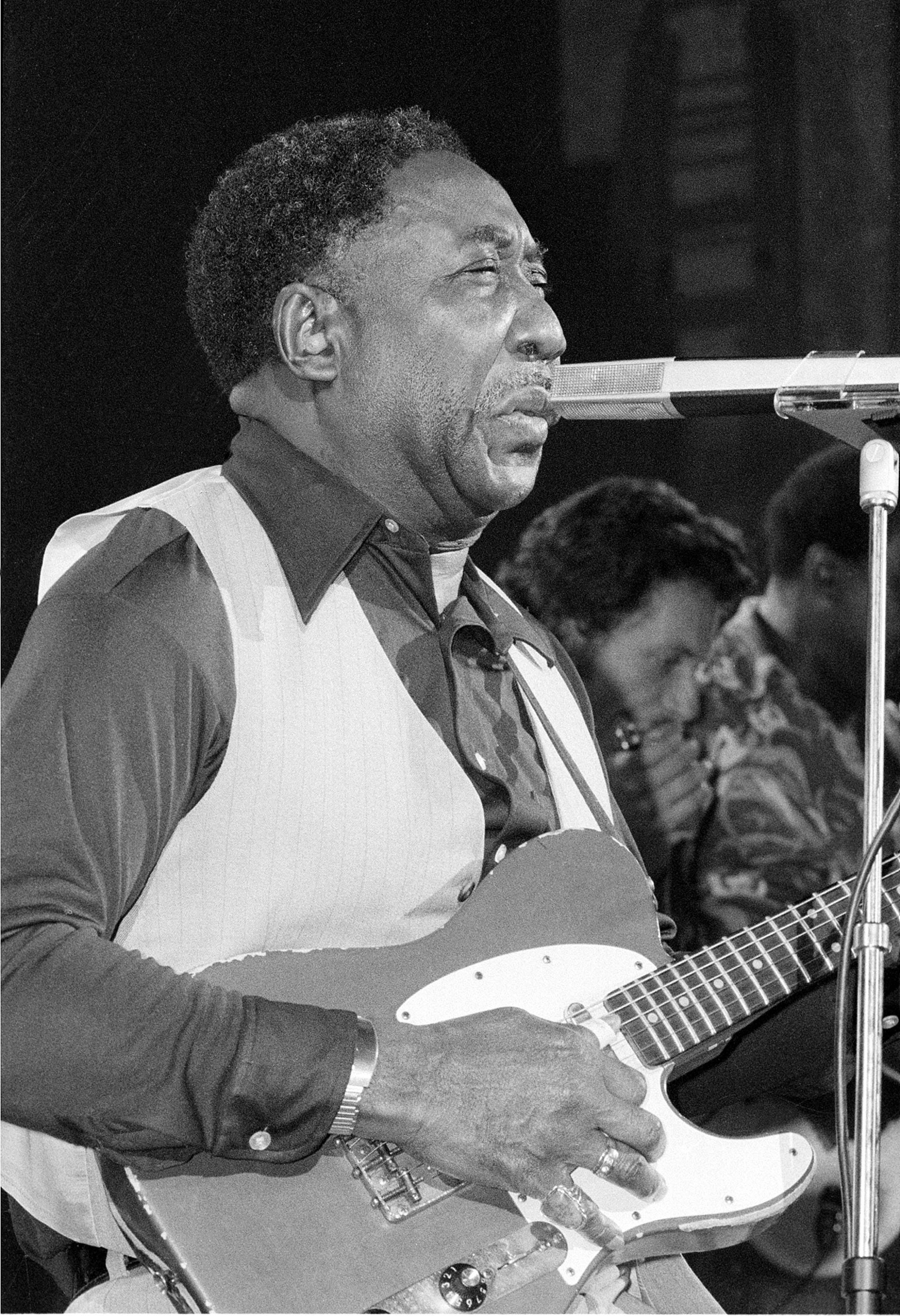 Blues musician Muddy Waters performs at New York's Palladium Theater, Oct. 1, 1977 in a benefit performance for the New York Public Library.