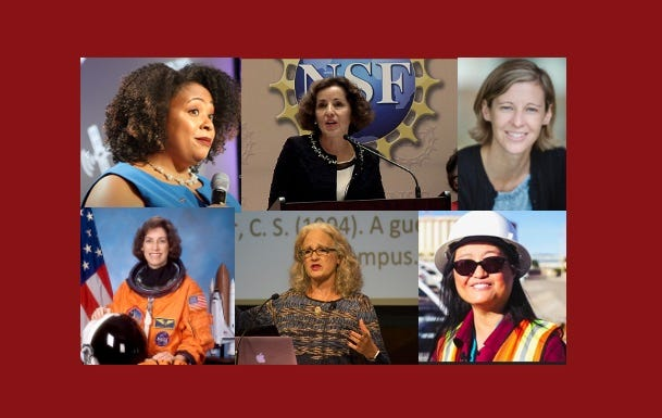 New Mexico State University's Research and Creativity Week will include speeches from (clockwise from top left) Erica Alston, France Córdova, Jen Heemstra, Pei Xu, Christine Sleeter and Ellen Ochoa.